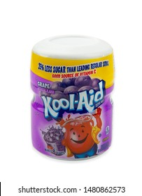 "HUETTENBERG, GERMANY AUGUST 13, 2019:  A packet of Kool-Aid grape flavored drink mix. Kool-Aid, was invented in Hastings, Nebraska where locals still celebrate ""Kool Aid Days"" each August."