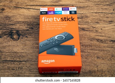 HUETTENBERG, GERMANY - FEBRUARY 03, 2020: Amazon Fire TV stick. Amazon Fire TV Stick is a low cost version in a HDMI-stick format of Amazon Fire TV, Android based.