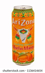 HUETTENBERG, GERMANY- JULY 6, 2018: Aluminium can of Arizona Cowboy Cocktail Mucho Mango flavor soft drink on white background