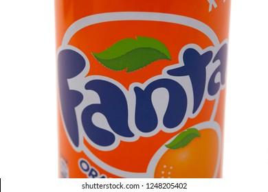 HUETTENBERG, GERMANY - JUNE 7, 2018: Aluminium can of Fanta Orange soft drink on white background. Fanta is popular fruit-flavored carbonated soft drink.