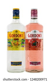 HUETTENBERG, GERMANY - September 8, 2018: Gordon's is a brand of the world's best selling London Dry gin. It is owned by the British spirits company Diageo.