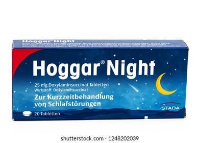 HUETTENBERG, GERMANY,19 JULY 2018: Hoggar Night Sleeping Pills on white background.