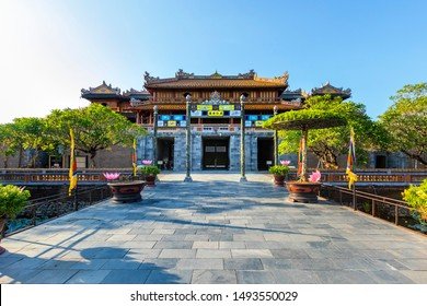 HUE,VIET NAM - JAN 12, 2019: Ngo Mon Gate, view from Thai Hoa palace. Imperial Royal Palace of Nguyen dynasty in Hue. Vietnam