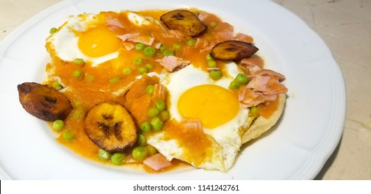 Huevos Motuleños or Eggs Motul style from yucatan mexico. breakfast