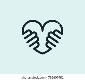 Hug love icon line isolated on clean background. Heart concept drawing icon line in modern style.  illustration for your web site mobile logo app UI design.