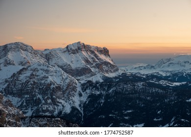 Huge alpine mountains of South Tyrol at sunset from Kronplatz, Italy