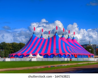 Huge Big Top Circus Tent, Built up for a Music Festival on a Sunny Day in the Park