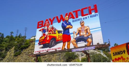 Huge billboard on Sunset Strip Los Angeles - Baywatch The Movie - LOS ANGELES / CALIFORNIA - APRIL 20, 2017