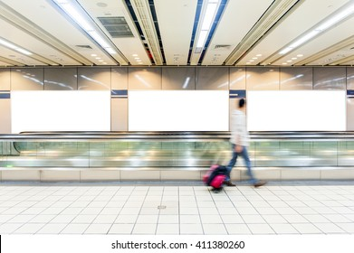 huge Blank Billboard with empty copy space in airport (path in the image)