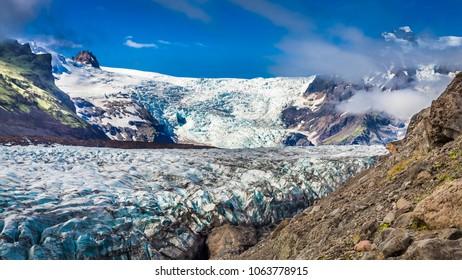 Huge blue Vatnajokull glacier and mountains, Iceland