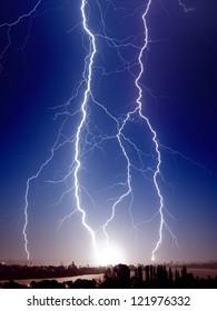 Huge bolt of lightnings hits small town