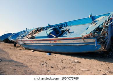 Huge broken boat of migrants. Lampedusa, Italy, 2009.