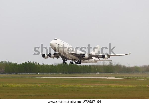 Huge cargo plane being towed