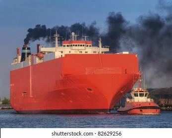 Huge cargo ship heading for port
