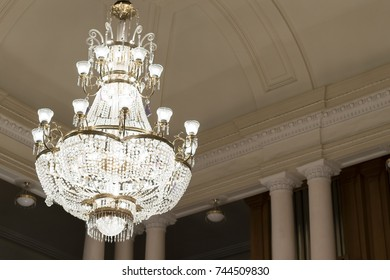 A huge chandelier in the concert hall
