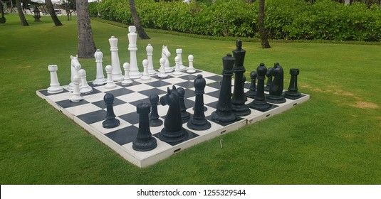 Huge chess pieces in the garden