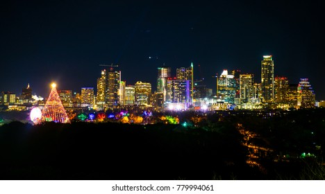 Huge Christmas tree lights up the night Austin Texas skyline cityscape at  night with Trail of - Zilker Park Christmas Tree Images, Stock Photos & Vectors Shutterstock
