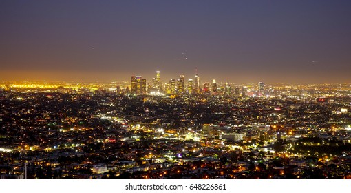 The huge city of Los Angeles at night - aerial view