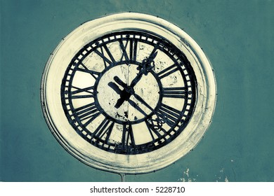 Huge clock on a old tower