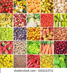 Huge collage of various healthy Fruit and Vegetables