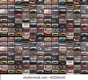 Huge collection of audio cassettes. Retro musical background
