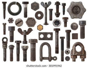A huge collection of rusty bolts, screws, nuts and other Items by iron. Excellent for adding texture and extra details to your designs