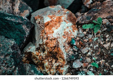 A huge colorful geographical rock