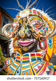 Huge costumes, headdresses and floats fill the streets of Nassau during Junkanoo on Jan 1.