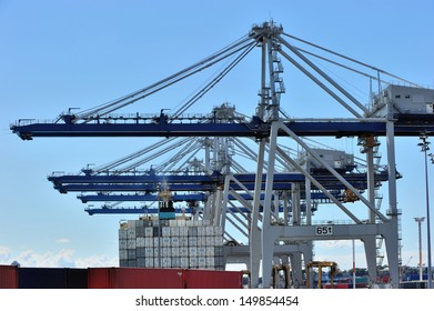 Huge cranes at the port of Auckland, New Zealand