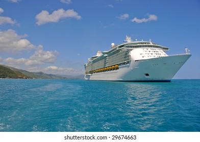 huge cruise ship in caribbean port