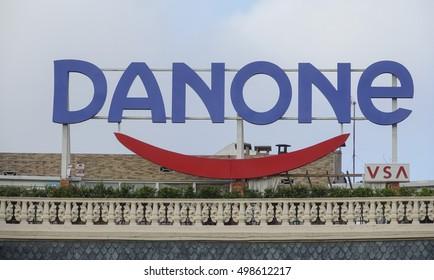Huge Danone Advertising in the city center of Barcelona - BARCELONA / SPAIN - OCTOBER 5, 2016
