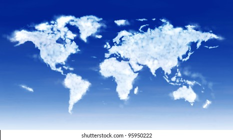 Huge digital illustration image of the world map composed by fluffy softly clouds