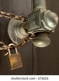 HUGE door with padlock and chain