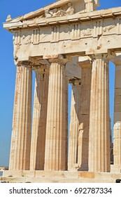 Huge doric columns of the Parthenon on the Acropolis at Athens. Considered to be the most important surviving building of Ancient Greece, and one of the world's most important monuments