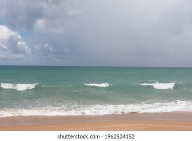 Huge dramatic rain coming from the sea , Dramatic stromy cloudy sky over the sea at Nai Yang beach in Phuket island, Thailand. - Shutterstock ID 1962524152