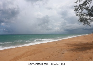 Huge dramatic rain coming from the sea , Dramatic stromy cloudy sky over the sea at Nai Yang beach in Phuket island, Thailand. - Shutterstock ID 1962524158