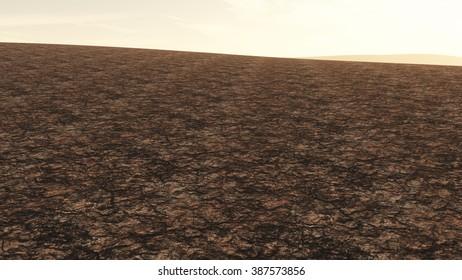 Huge Drought Plain Global Warming and Climate Change 3D Illustration