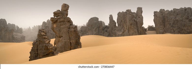 Huge dunes of the desert. Fine place for photographers and travelers. Beautiful structures of sandy barkhans. Fantastic nature of Sahara.