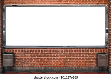 Huge empty billboard on brick wall