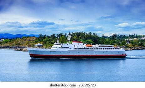 Huge Ferry Leaving Victoria British Columbia Canada