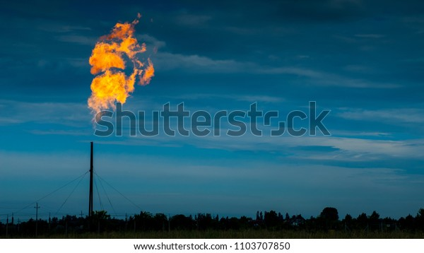 Huge flames coming out from a tall gas pipe maintenance on gas distribution site