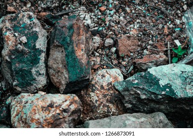 Huge geographical rocks with different textures