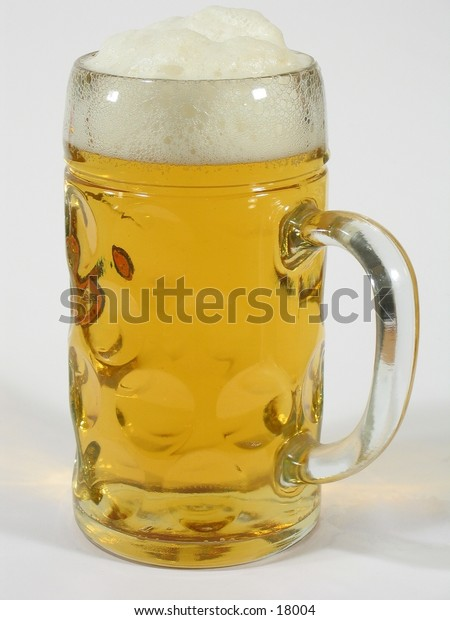 A huge glass of beer on white background.