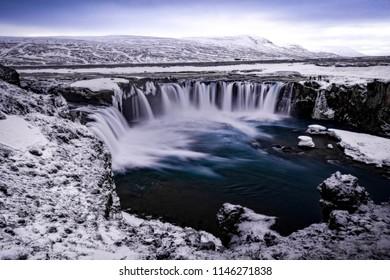 Huge Godafoss waterfall in in winter
