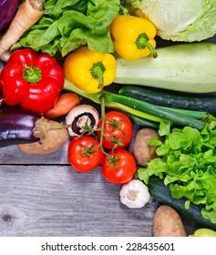 Huge group of fresh vegetables on wooden  table - High quality studio shot