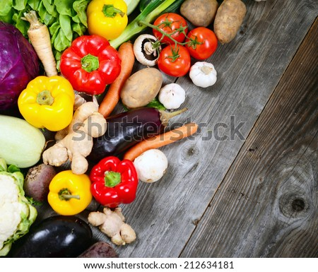 Huge group of fresh vegetables on wooden table - High quality studio shot