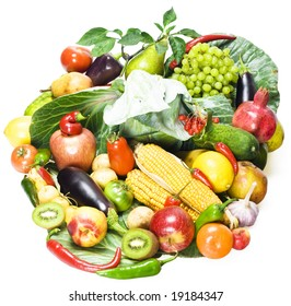 Huge Heap Of Fruits And Vegetables