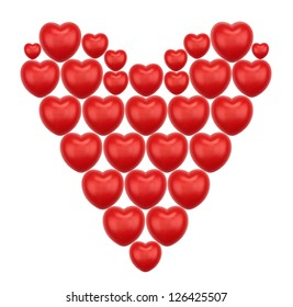 Huge heart made of smaller red hearts with three blue hearts inside