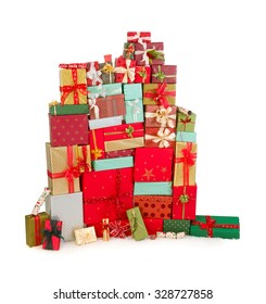 Huge and high stack of colorful christmas presents