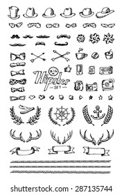Huge hipster set hand drawn icon. White isolated.